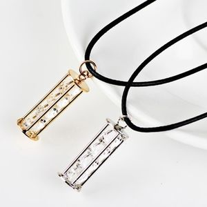 Jewelry - Floating Crystal Column Pendant Leather Necklace